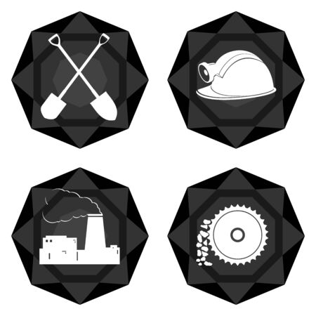 auger: Icons with abstract images of objects and equipment used in the mining industry. Illustration on white background. Illustration