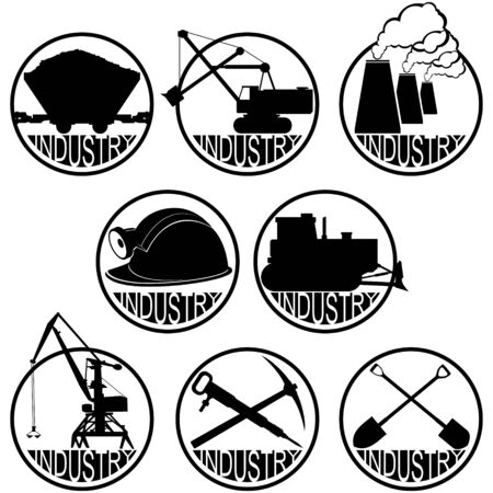 coal mining: Icons coal mining industry. The illustration on a white background. Illustration