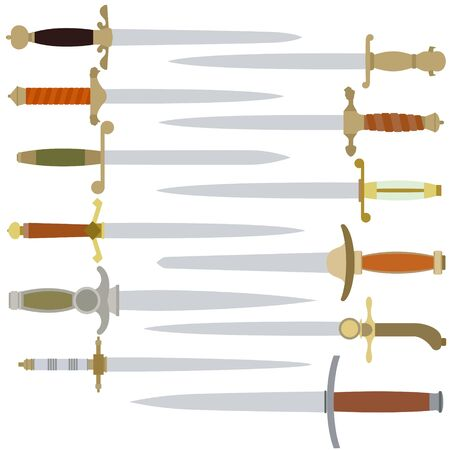dirk: Dirk, edged weapons officers of the Navy. Illustration on white background.