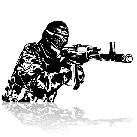 firearms: Abstract image of a soldier with automatic firearms. Illustration on white background.