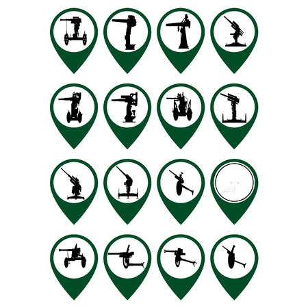 artillery: Badges with abstract pieces of artillery. Illustration on white background.