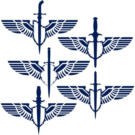 dirk: Abstract icons military daggers and wings. Illustration on white background.