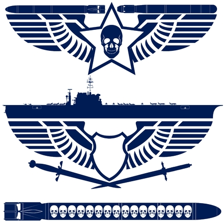 aircraft carrier: Abstract icons with military wings. Illustration on white background.