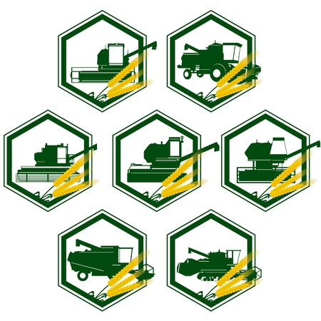 agricultural machinery: Badges with agricultural machinery. The illustration on a white background.