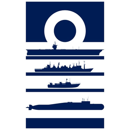 destroyer: Abstract Insignia Navy admiral. Illustration on white background.