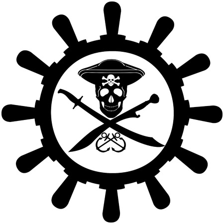 two wheel: Skull, bones, and two swords in the background ship wheel. The illustration on a white background.