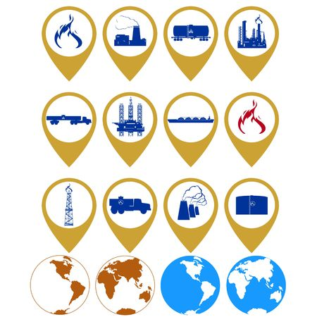 natural gas production: Badges with the gas industry. Illustration on white background.