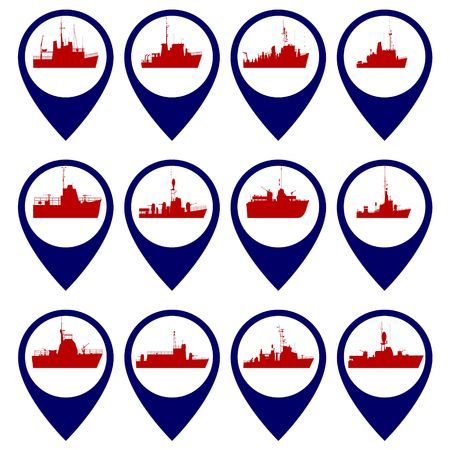 navy: Badges with Navy ships