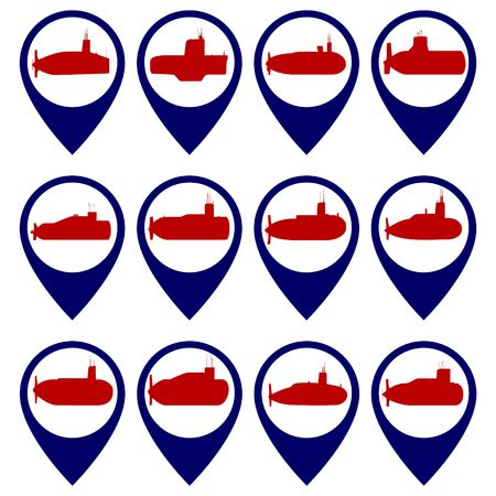 fleet: Badges with submarines Illustration