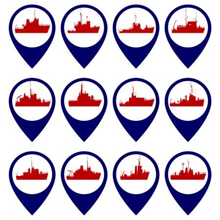 cruiser: Badges with Navy ships