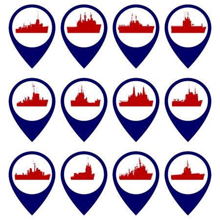 cruiser: Badges with Navy ships. Illustration on white background.