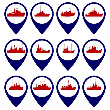 navy ship: Badges with Navy ship Illustration