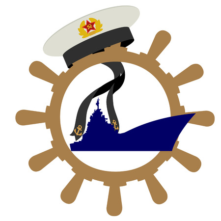 warship: Headgear sailors the Navy, the ships wheel and a warship. The illustration on a white background.