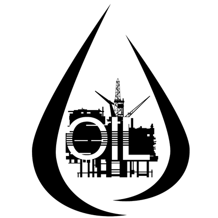 extraction: Abstract icon extraction of petroleum products. Illustration on white background.