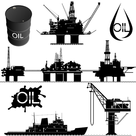 mining ships: Set of icons of the oil industry. The illustration on white background.