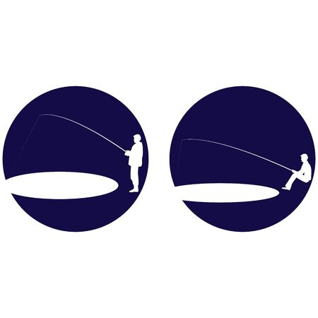 cons: cons with fisherman fishing. The illustration on a white background.