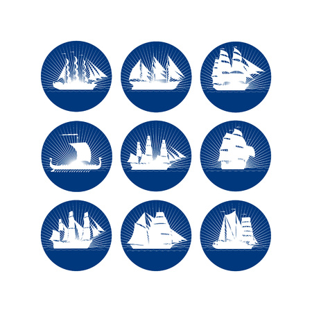 Badges with sailing ships. The illustration on a white background.