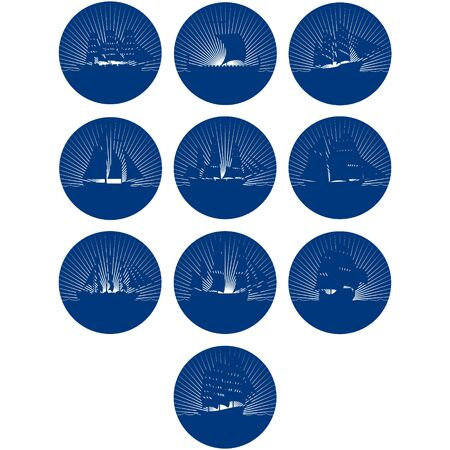 corvette: Badges with sailing ships. The illustration on a white background.