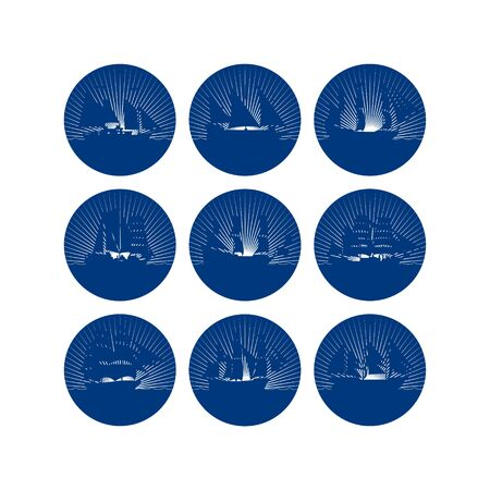 frigate: Badges with sailing ships. The illustration on a white background.