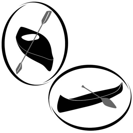 black white kayak: Icons with boats for water sports and tourism events. The illustration on a white background.