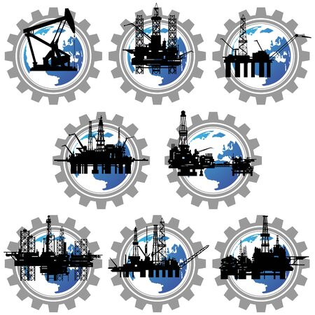 pinion: Icons with drilling rigs and pumps for oil extraction. The illustration on a white background. Illustration