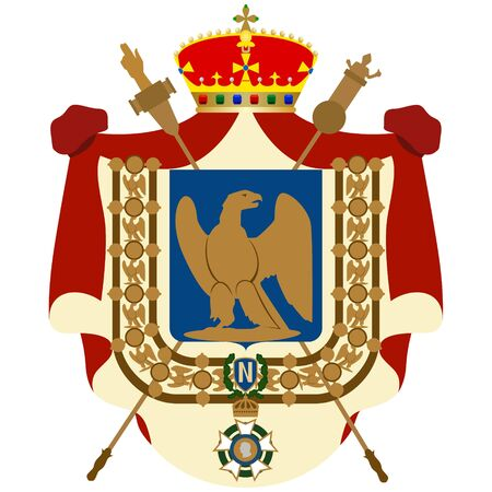 napoleon: The coat of arms of France during the reign of Emperor Napoleon. The illustration on a white background.