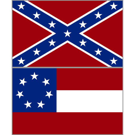 Flags of the Confederacy during the American Civil War. The illustration on a white background. Illustration