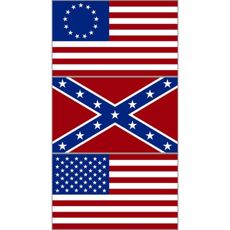 civil war: Flags of the Confederacy, and the United States during the American Civil War. The illustration on a white background.