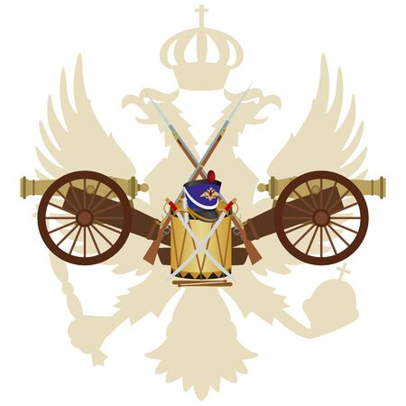white coat: Coat of arms of Russia and in the 1812 war. The illustration on a white background.