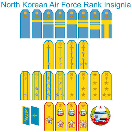 epaulettes: Badge of ranks Air Force of North Korea. The illustration on a white background.