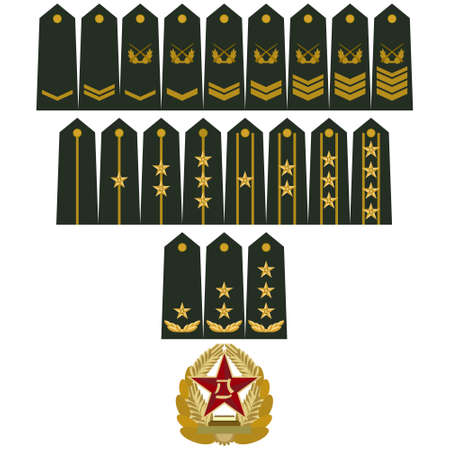 in the ranks: Badge of ranks in modern Chinese army. The illustration on a white background.