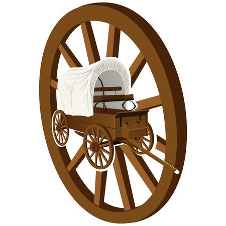 De oude huifkar op de achtergrond van een houten wiel. De afbeelding op een witte achtergrond.