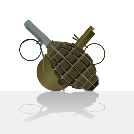offensive: Defensive and offensive military weapons. The illustration on a white background.