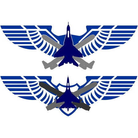 Badges Air Force. Combat fighter against the backdrop of the cruise missiles and abstract wings. The illustration on a white background. Illustration