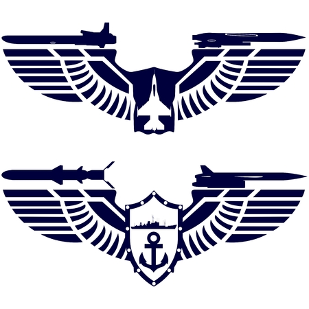 cruise missile: Badges Air Force and Navy. Combat fighter and missile cruiser on abstract wings. The illustration on a white background. Illustration