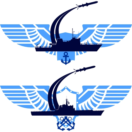 cruise missile: The icons of the Navy. Missile cruiser on abstract wings. The illustration on a white background.