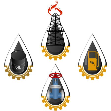 Icons refining and oil industry. The illustration on a white background.