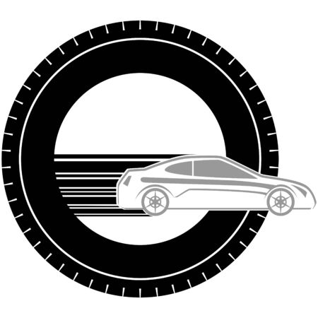 passenger car: Icon a passenger car on the background of the wheel. The illustration on a white background.