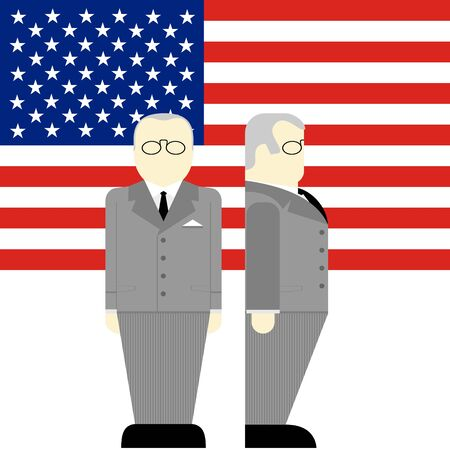 supreme: The flag and the Supreme Commander of the armed forces of the United States. The illustration on a white background. Illustration