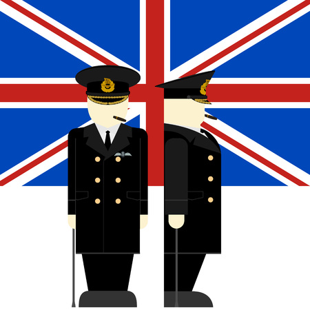commander: The flag and the Supreme Commander of the armed forces of Britain. The illustration on a white background. Illustration