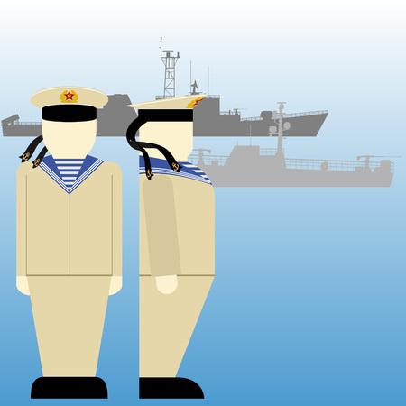 world war ii: Soviet sailors and ships in World War II. The illustration on a white background. Illustration