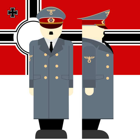 dictator: The flag and the Supreme Commander of the armed forces of Nazi Germany. The illustration on a white background. Illustration