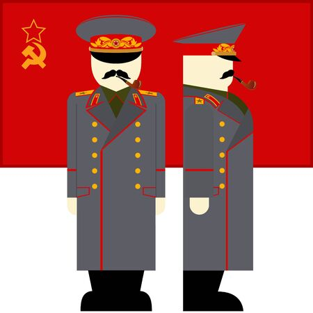 dictator: The flag and the Supreme Commander of the armed forces of the USSR. The illustration on a white background.