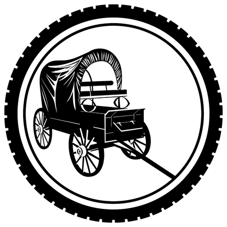 wagon wheel: The icon with an old van. The illustration on a white background.