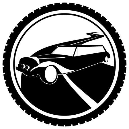 passenger car: Icon a passenger car. The illustration on a white background.