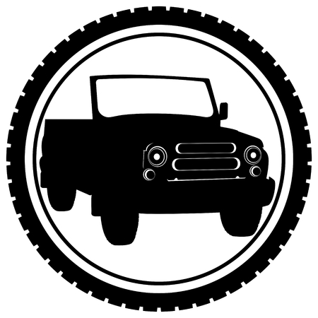cockpit: The icon with the car. The illustration on a white background.