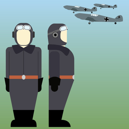 military aircraft: Military aircraft and military pilots of the Wehrmacht in World War II. The illustration on a white background. Illustration