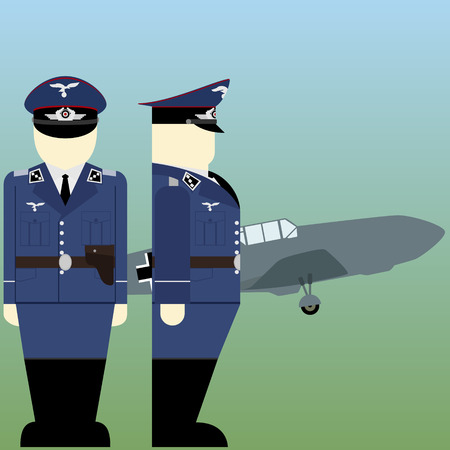 world war ii: Military aircraft and military pilots of the Wehrmacht in World War II. The illustration on a white background. Illustration