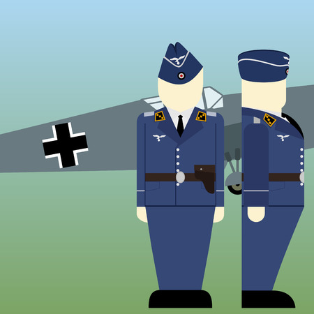 Reich: Military aircraft and military pilots of the Wehrmacht in World War II. The illustration on a white background. Illustration