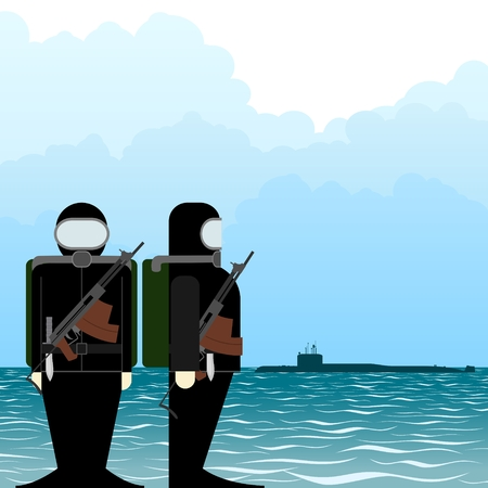 special forces: Special Forces soldiers with automatic weapons to shoot underwater. The illustration on a white background. Illustration